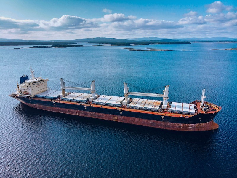 Large cargo ship in the White sea aerial view